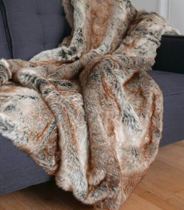 Plaid Fausse Fourrure Luxe Renard 150 X 200 cm