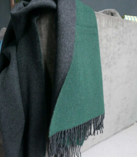 Plaid Cachemire Reversible Vert et Gris