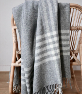 Plaid Pure Laine Naturel Gris et Blanc