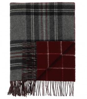 Plaid Laine Écossais Réversible Luxe Gris et Bordeaux 140 X 190 cm