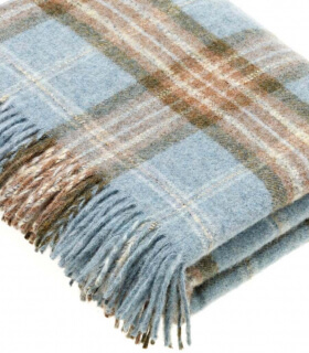 Plaid Ecossais Bleu - Collection Montagute - 140 X185 cm