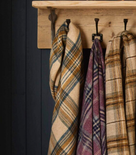 Plaid Ecossais Beige - Collection Killerton - 140 X185 cm