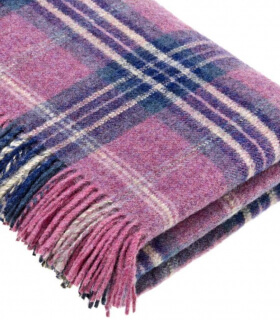 Plaid Ecossais Mauve - Collection Montacute - 140 X185 cm