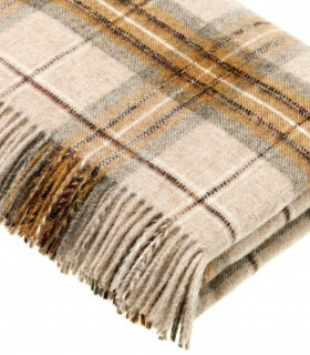 Plaid Ecossais Jaune Moutarde - Collection Montacute - 140 X185 cm