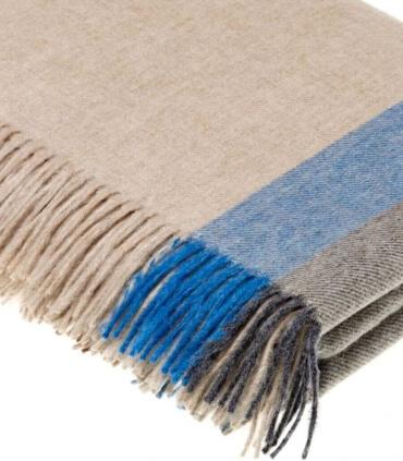 Plaid Laine Mérinos Rayures Bleu - 140 X185 cm