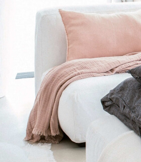 Plaid en gaze de Coton Rose pâle - Collection Comporta - 130 X 190 cm