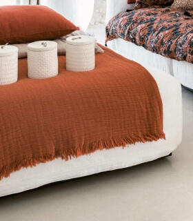 Plaid Orange en gaze de Coton - Collection Comporta - 130 X 190 cm