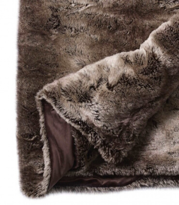 Couvre-lit Fausse Fourrure LUXE Ours brun 240 X 260 cm