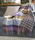 Plaid Laine Écossais Réversible Luxe Aubergine et Vert 140 X 190 cm