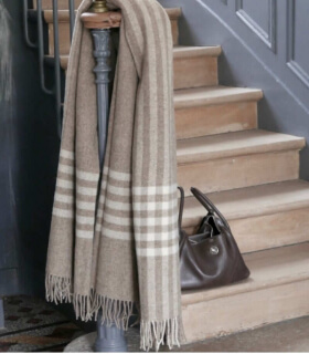 Plaid Pure Laine Naturel Beige et Blanc