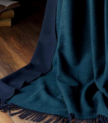 Plaid Cachemire Reversible Bleu