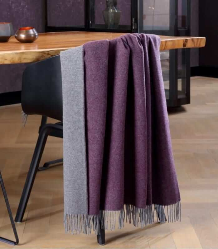 Plaid Cachemire Reversible Prune et Gris