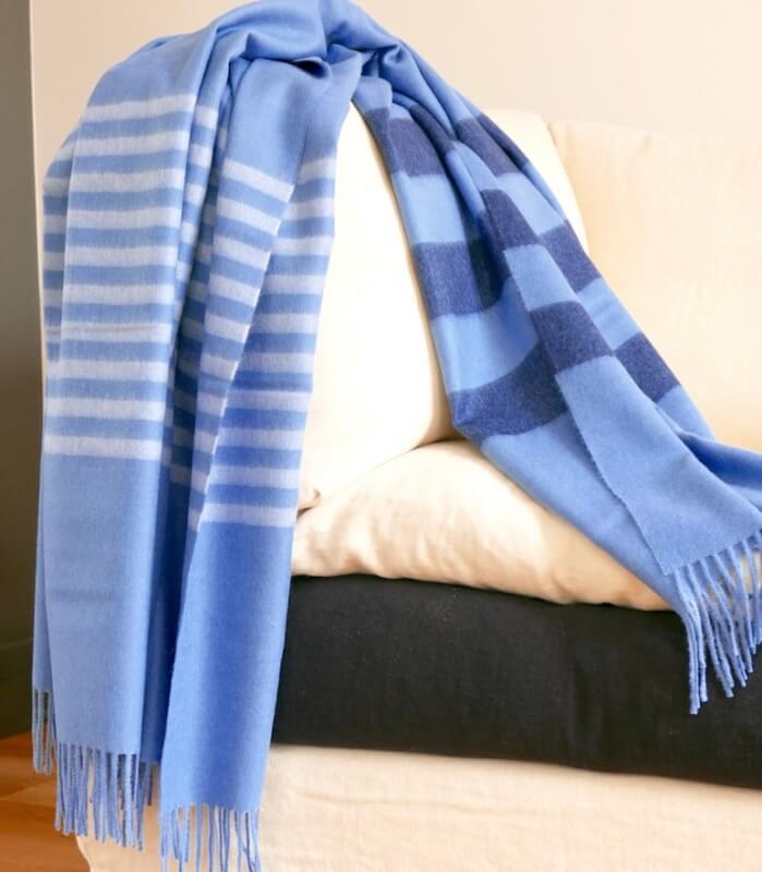 Plaid Laine Alpaga Luxe Altiplano Bleu