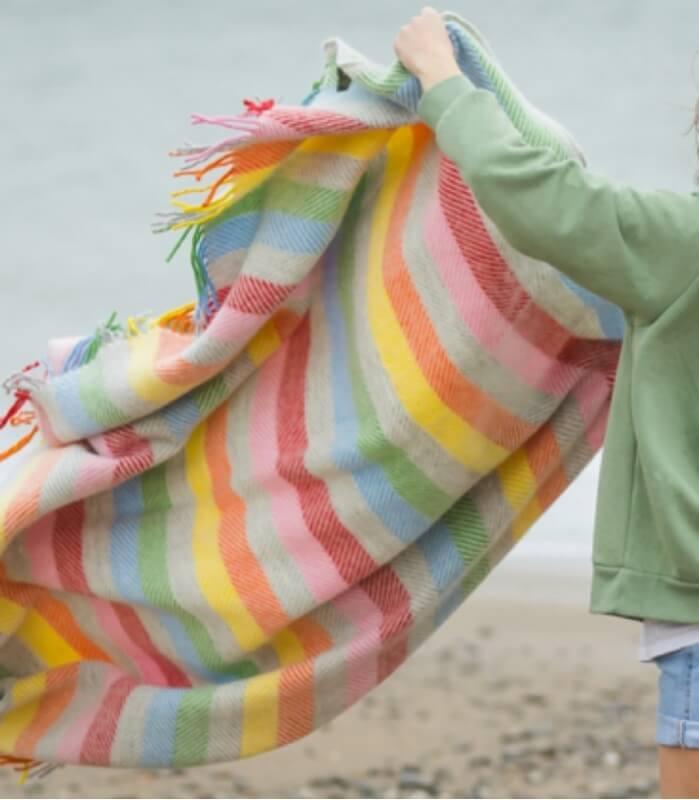 Plaid Laine Rainbow Gris Rayures Colorées 150 X 183 cm
