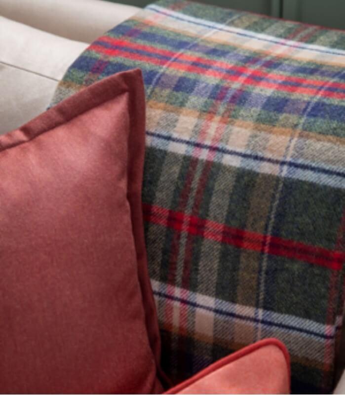 Plaid Laine Écossais Réversible Luxe Vert et Rouge 140 X 190 cm