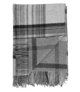 Plaid Laine Écossais Réversible Luxe Gris 140 X 190 cm