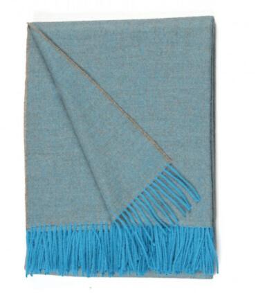 Plaid Laine Alpaga Luxe Chevrons Bleu Beige