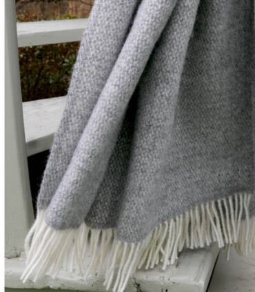 Plaid Pure Laine Chevrons Gris