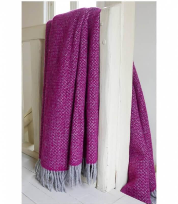 Plaid Laine Chevrons Violet et Gris 150 X 183 cm