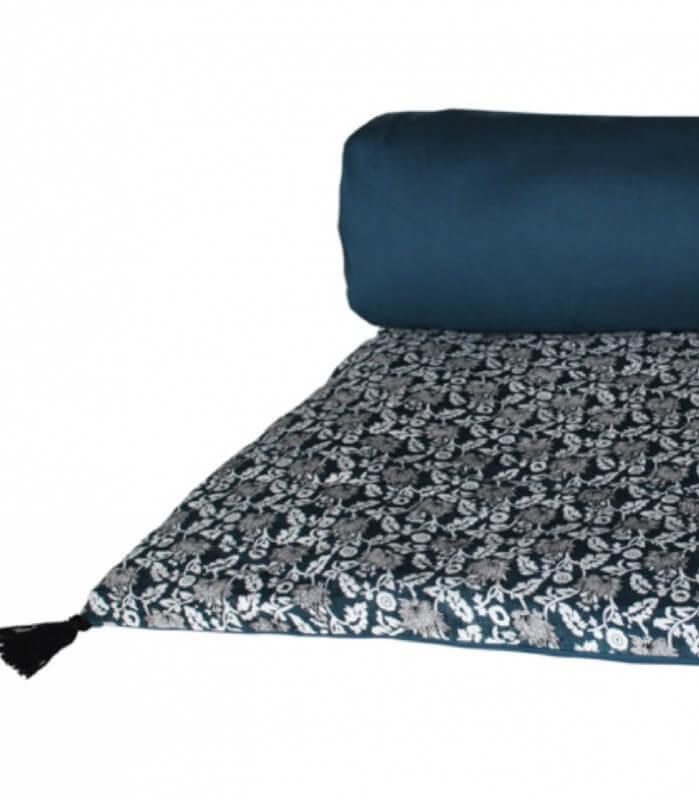 Edredon Bout de Lit Gaya Bleu 85X200cm