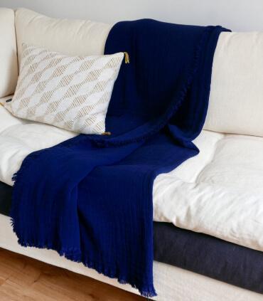 Plaid Indigo en gaze de Coton - Collection Comporta - 130 X 190 cm