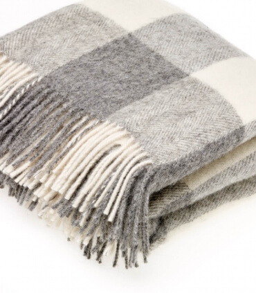 Plaid Naturel Pure Laine Carreaux Gris