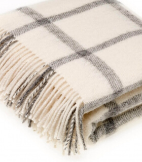 Plaid Naturel Pure Laine Ecru 135 X 195 cm