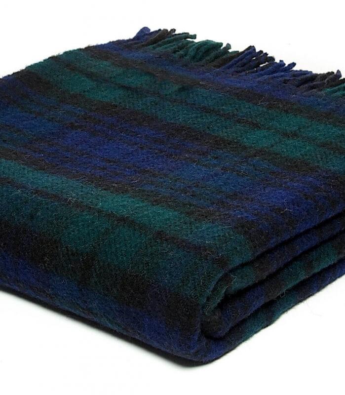 Plaid Pure Laine Écossais Black Stewart