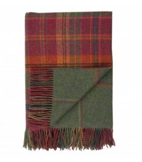 Plaid Laine Écossais Réversible Luxe Rouge et Vert 140 X 190 cm