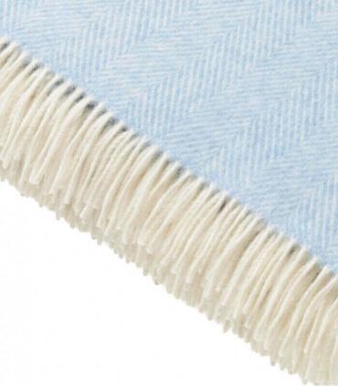 Plaid 100% Laine Mérinos Bleu Ciel