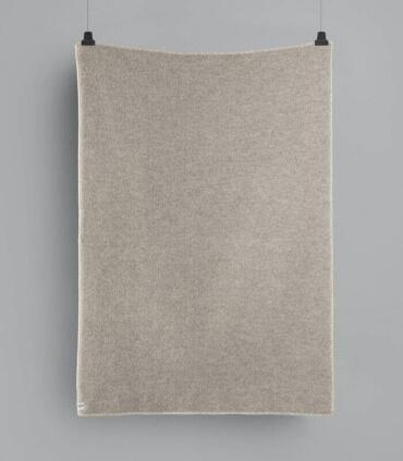Plaid Laine Scandinave Reversible Gris et Ecru 135 X 200 cm