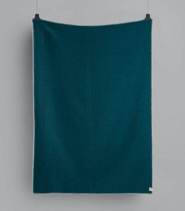 Plaid Laine Scandinave Reversible Turquoise et Bleu 135 X 200 cm