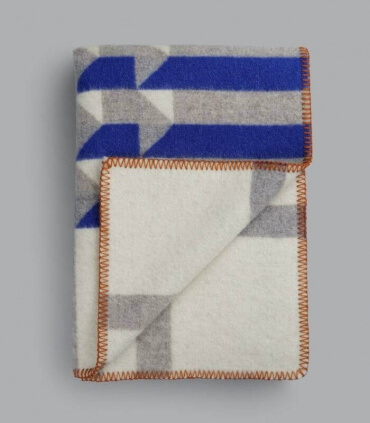Plaid Pure Laine Design Kvam Bleu 135 X 200 cm