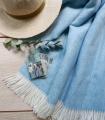Plaid Laine Mérinos Chevrons Bleu Ciel 140 X 185 cm