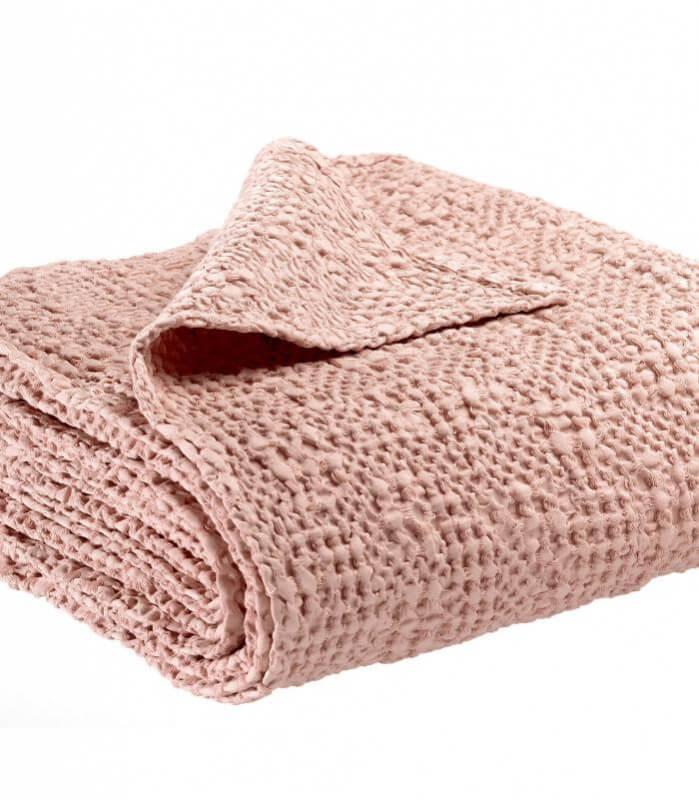 Jeté de canapé/ Couvre-lit 100% coton TANA Rose Poudré