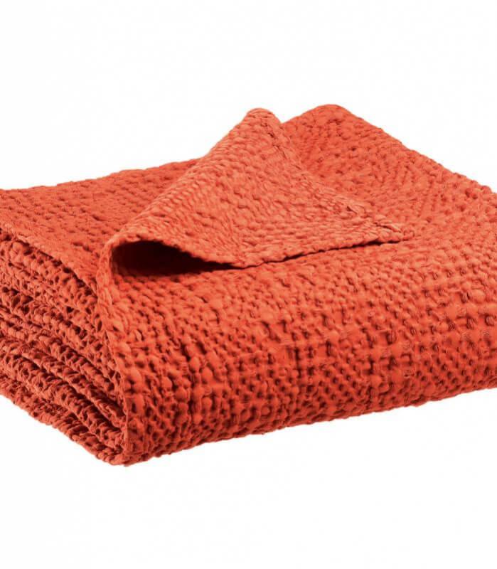 Jeté de canapé/ Couvre-lit 100% coton TANA Rouge