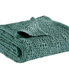 Jeté de canapé/ Couvre-lit 100% coton TANA Vert de Gris