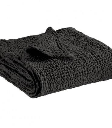 Jeté de canapé/ Couvre-lit 100% coton TANA Noir