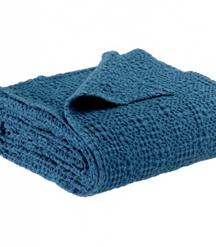 Jeté de canapé/ Couvre-lit 100% coton TANA Bleu