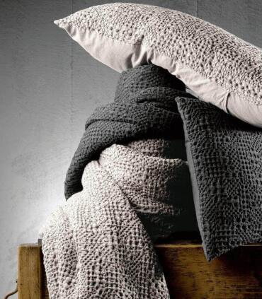 Jeté de canapé/ Couvre-lit 100% coton TANA Blanc Cassé