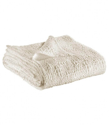 Jeté de canapé/ Couvre-lit 100% coton TANA Blanc Craie