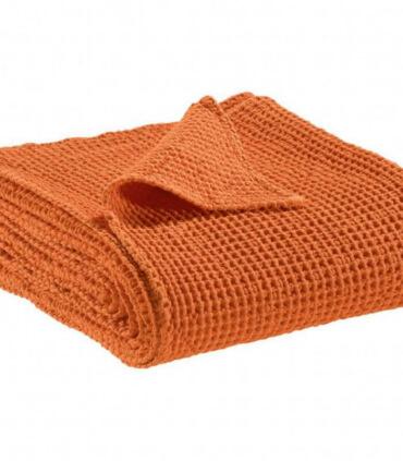 Jeté de canapé/ Couvre-lit 100% coton lavé Orange