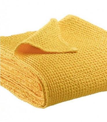 Jeté de canapé/ Couvre-lit 100% coton lavé Jaune 240 X 260 cm