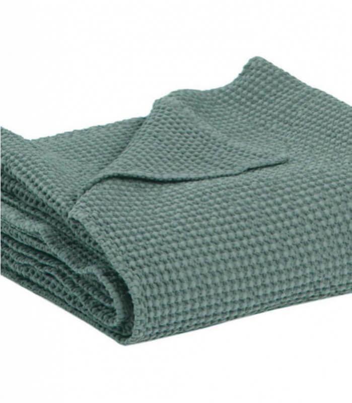 Jeté de canapé/ Couvre-lit 100% coton lavé vert de gris 240 X 260 cm