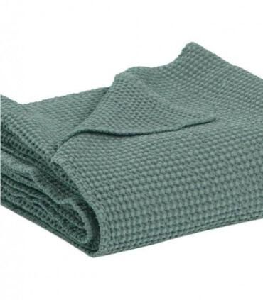 Jeté de canapé/ Couvre-lit 100% coton MAIA Vert de Gris