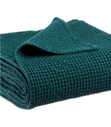 Jeté de canapé/ Couvre-lit 100% coton lavé Vert Topaze 240 X 260 cm
