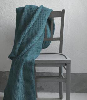 Jeté de canapé/ Couvre-lit 100% coton lavé Bleu Outremer 240 X 260 cm