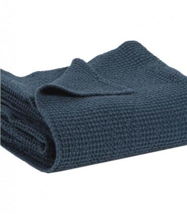 Jeté de canapé/ Couvre-lit 100% coton lavé Bleu Marine 240 X 260 cm