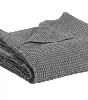 Jeté de canapé/ Couvre-lit 100% coton Gris Foncé