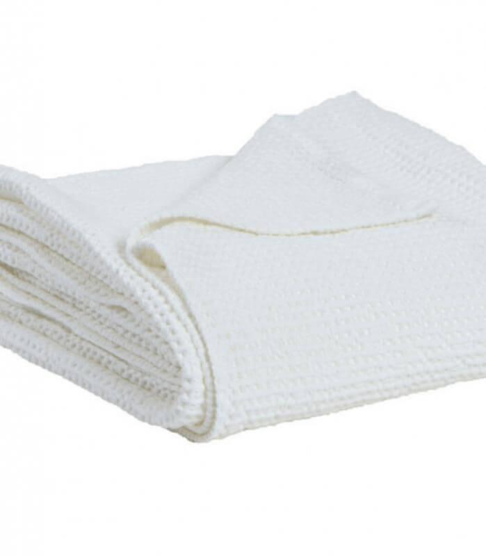 Jeté de canapé/ Couvre-lit 100% Blanc Craie